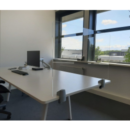 Plexiglas scherm + 2 bureauklemmen