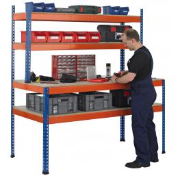 Z1 Stora werkbank paktafel met onderblad en stellingopbouw